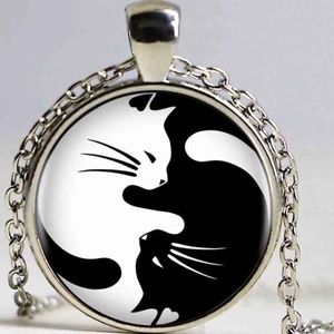 Necklace- NEW- Kitty Cat Ying Yang
